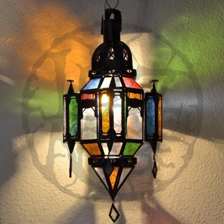 Andalusian lamp of openwork iron and colorful crystal with trims