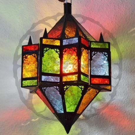 Lampara estrella octagonal con dos conos de cristal de colores
