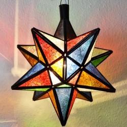 Lampe étoile de 12 angles de verre coloré