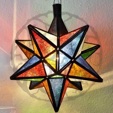 Lâmpada estrela 12 estrela ângulos e vidro colorido