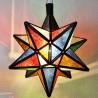 Lampada stella 12 angoli in vetro colorato