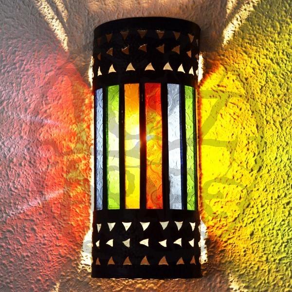 Compre aplique rabe con arcos de forja calada y cristal de colores de 53 cm - Apliques arabes ...
