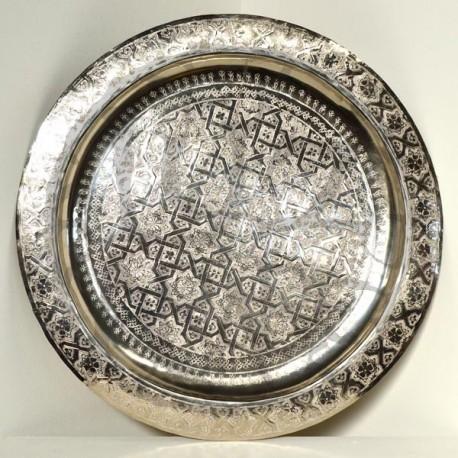 Moroccan silver tea tray of carved nickel silver