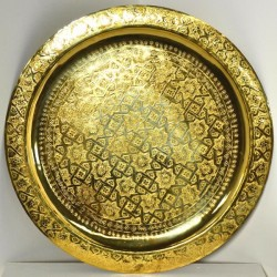 Moroccan golden tea tray of carved brass