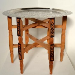 Tavolo da tè di gambe pieghevole con vassoio di alpaca intagliato