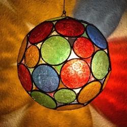 Lâmpada forma de esfera de vidro colorido