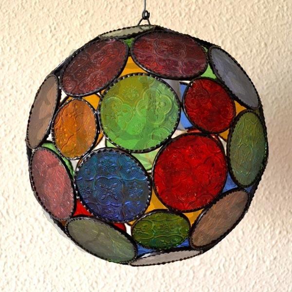... marocchini in cristallo > Lampada forma di sfera in vetro colorato