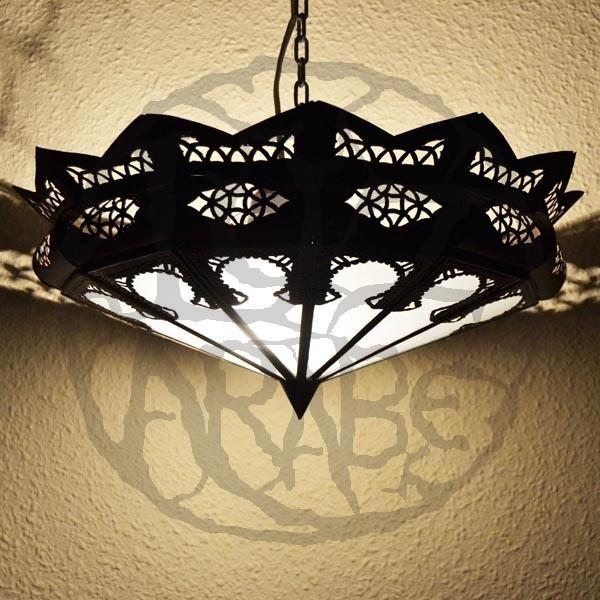 acheter abat jour arabe de fer ajour et verre blanc 47 cm. Black Bedroom Furniture Sets. Home Design Ideas