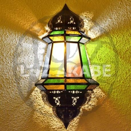 Aplique marroquino grande de parede de vidro colorido