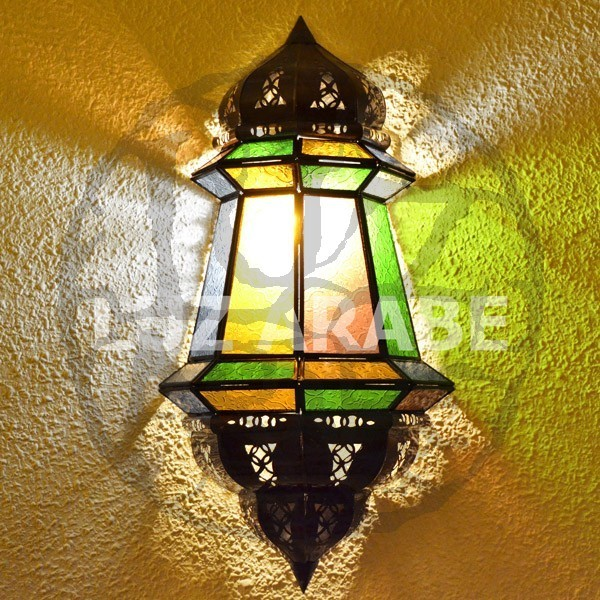 Buy large moroccan wall light of colored glass 47 cm