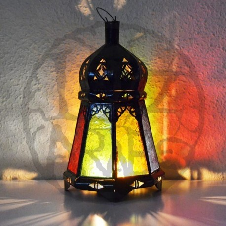 Buy Octagonal Candel Lantern Of Colored Glass And Pierced