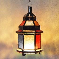 Lanterna de vela de vidro colorido e bronze perfurado