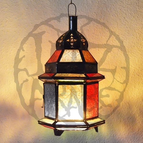 ... arabi > Lanterna di candele in vetro colorato e bronzo trafitto