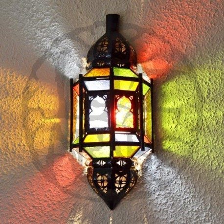 Andalusian glass wall sconce with arches and bars