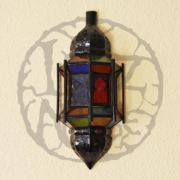 Moroccan Glass Wall Lights : Buy Andalusian wall sconce with arches and bars of pierced iron and colorful crystal 40 cm