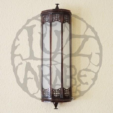 Applique da parete di bronzo e vetro bianco
