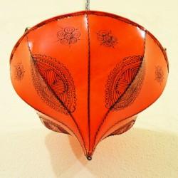 Candeeiro de tecto tulipa de couro pintado