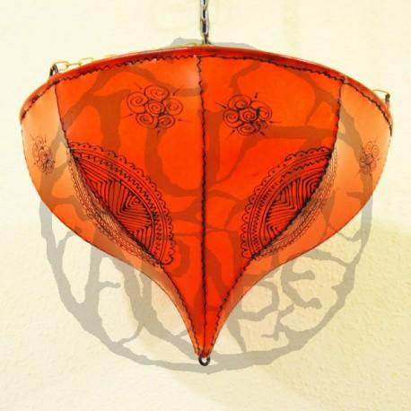 Plafoniera tulipano pelle dipinta