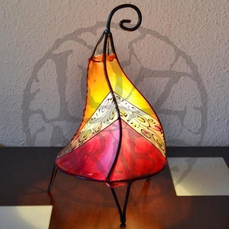 Iron lamp of leather painted with henna