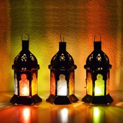 Pack 3 Small Candle lantern of colored glass