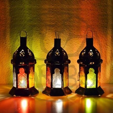 Pack 4 Kerze Laterne aus farbigem glas