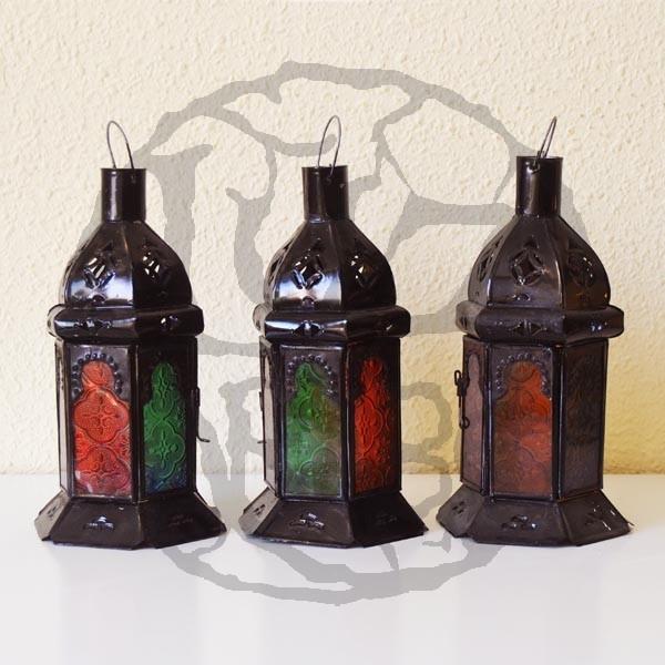Kaufen pack 3 sechseckige kerze laterne aus farbigem glas for Laterne aus glas