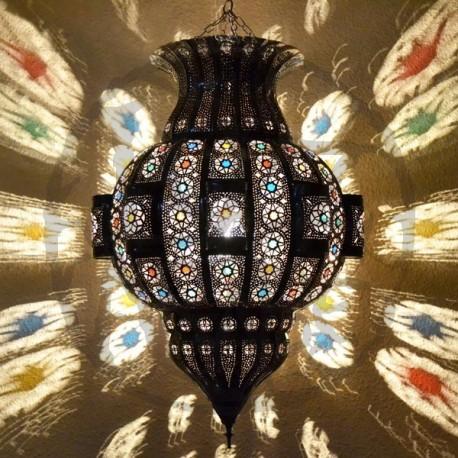Lámpara árabe grande forma Granada de de forja bronceada