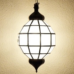 Candeeiro forma esfera de vidro branco opaco