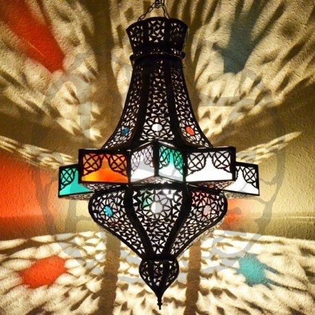 Octagonal star lamp of openworked bronzed iron and glass with resins