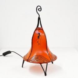 Lampe de table forme de cloche de cuir peint au henné