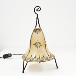 Bell shape table lamp of leather painted with henna