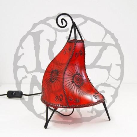 Lámpara Gallo de cuero pintada con henna