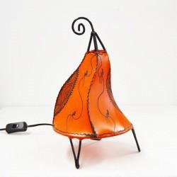 Lampadario da tavolo forma a Gallo in pelle dipinta con l'henné