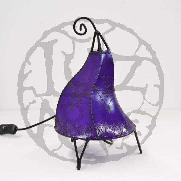 Kaufen hahnenform tischlampe aus leder mit henna bemalt 35 cm for Marokkanische tischlampe