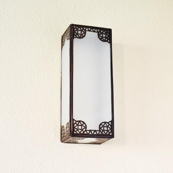 Buy Rectangular wall sconce of bronzed iron and white glass 30 cm