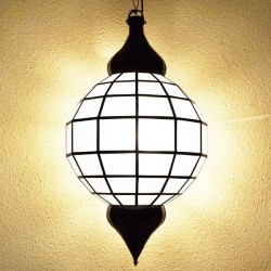 Grand sphere-shape lamp of white glass