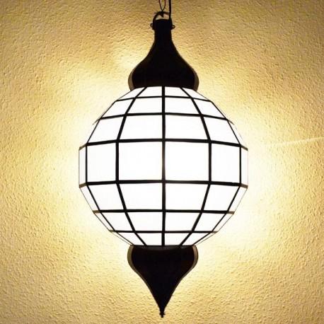 Candeeiro grande forma esfera de vidro branco opaco