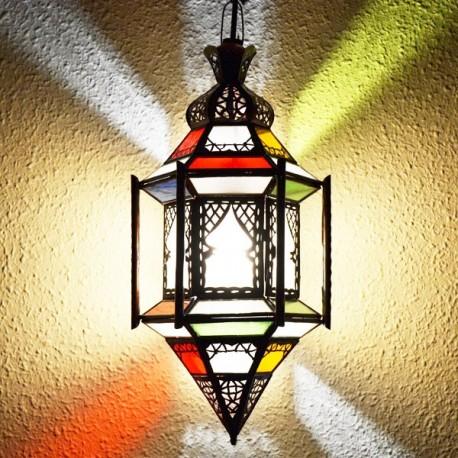 Lampade esagonale andaluso con barre in ferro bronzato traforato