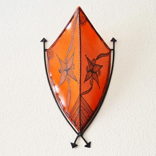 Buy Hand Painted Leather Sconce Of African Style With