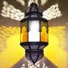 Grande lampe plafonnier andalou octogonale bicolor avec arcs