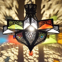 Octagonal star lamp of openworked bronzed iron and colored glass