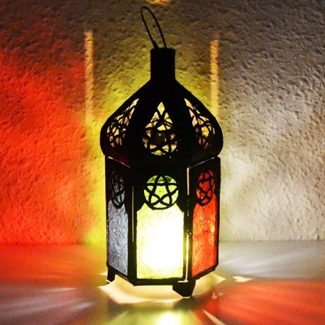 Kerze Laterne aus farbigem glas