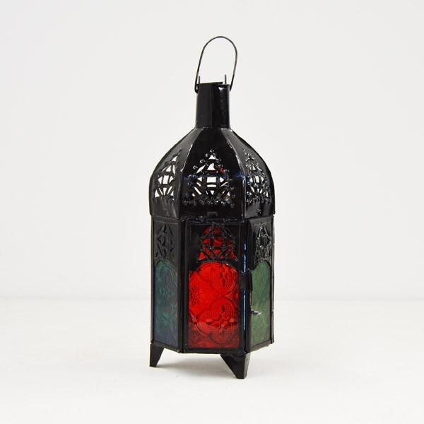 kaufen sechseckige kerze laterne aus farbigem glas und durchbohrte eisen mit einer kuppel 25 cm. Black Bedroom Furniture Sets. Home Design Ideas