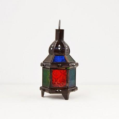 kaufen sechseckige kerze laterne aus farbigem glas und durchbohrte eisen 22 cm. Black Bedroom Furniture Sets. Home Design Ideas