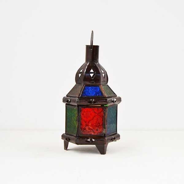 Buy Hexagonal Candel Lantern Of Colored Glass And Pierced