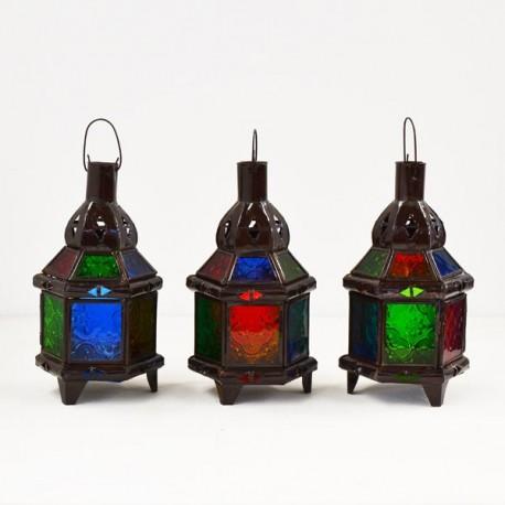 kaufen pack 3 sechseckige kerze laterne aus farbigem glas und durchbohrte eisen 22 cm. Black Bedroom Furniture Sets. Home Design Ideas