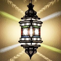 Lampe plafonnier andalouse de fer bronzé et verre opaque