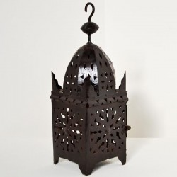 Openwork iron lantern of a square minaret shape