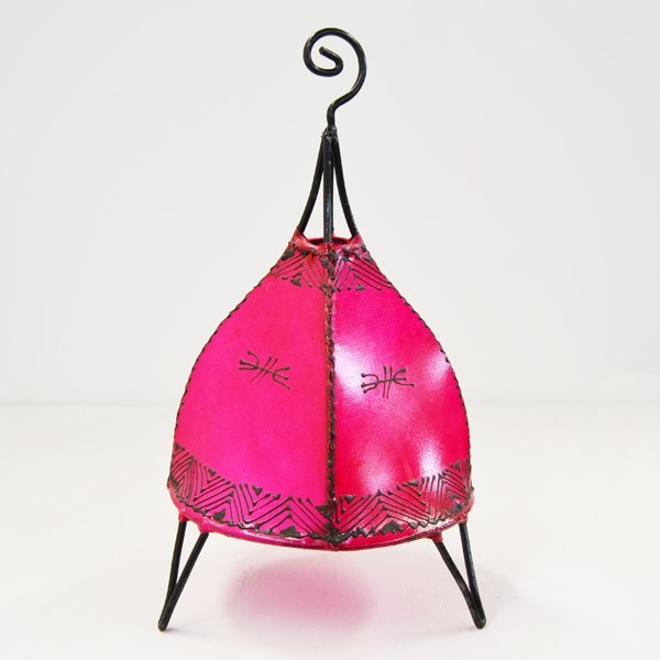 Kaufen zeltform tischlampe aus leder mit henna bemalt 35 cm for Marokkanische tischlampe