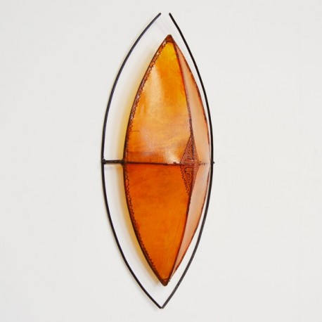 African style leather wall sconce of Zulu shield shape